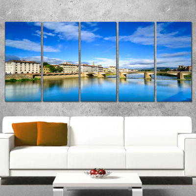 Designart Ponte Alle Grazie Florence Italy Extra Large Seashore Canvas Art - 4 Panels