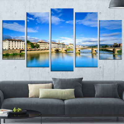 Designart Ponte Alle Grazie Florence Italy Extra Large Seashore Wrapped Canvas Art - 5 Panels
