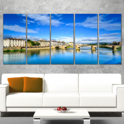 Designart Ponte Alle Grazie Florence Italy Extra Large Seashore Canvas Art - 5 Panels