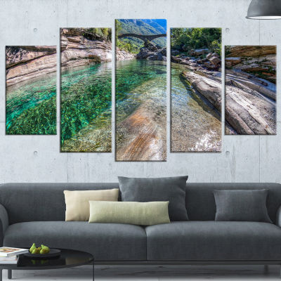 Ponte Dei Salti Val Verzasca Landscape Photo Canvas Art Print - 4 Panels