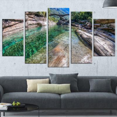 Designart Ponte Dei Salti Val Verzasca Landscape Photo Canvas Art Print - 5 Panels