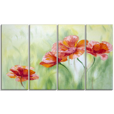 Designart Poppies in Light Green Floral Art CanvasPrint - 4Panels