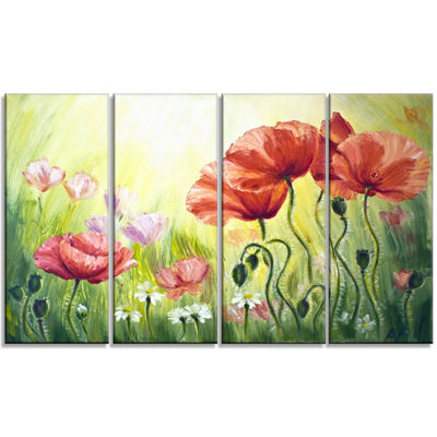 Designart Poppies in Morning Floral Art Canvas Print - 4 Panels