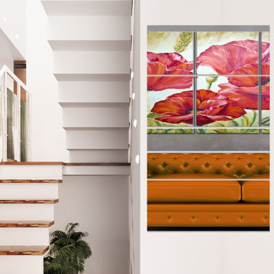Designart Poppies in Wheat Large Floral Wall Art Canvas - 4Panels