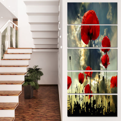 Poppies on Thunderstorm Background Floral Canvas Art Print - 4 Panels