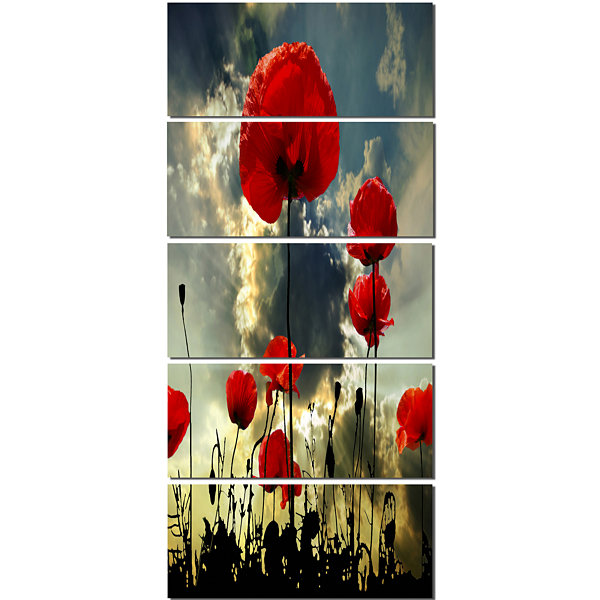Designart Poppies on Thunderstorm Background Floral Canvas Art Print - 5 Panels