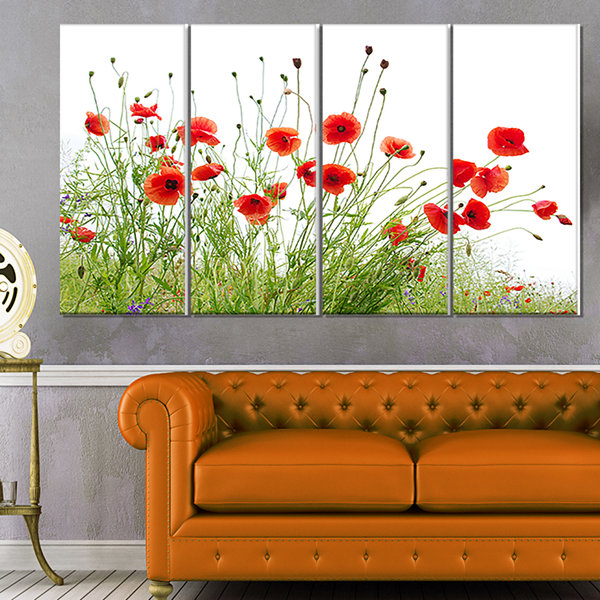 Designart Poppies on White Background Floral Canvas Art Print - 4 Panels