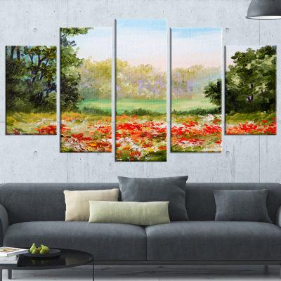 Designart Poppy Field With Sky Landscape Art PrintCanvas -4 Panels