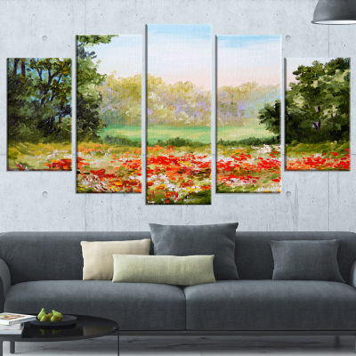 Designart Poppy Field With Sky Landscape Art PrintCanvas -5 Panels