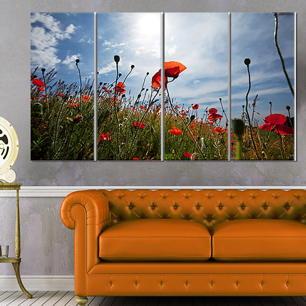Designart Poppy Flower Field View From Ground Floral CanvasArt Print - 4 Panels