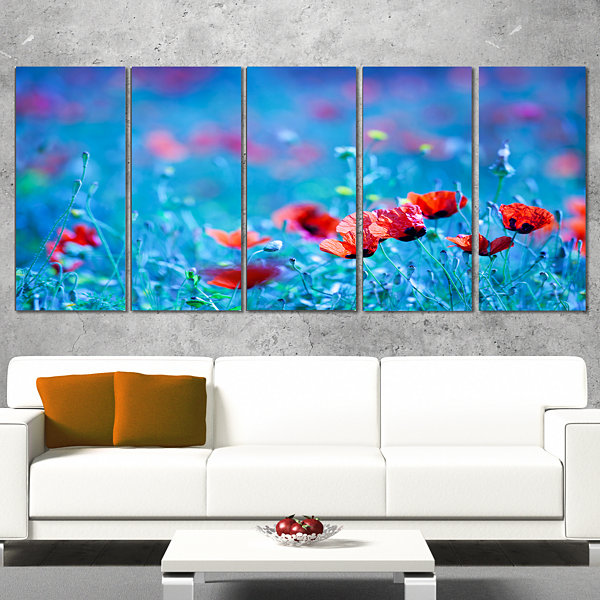 Poppy Flowers Field At Night Floral Canvas Art Print - 5 Panels