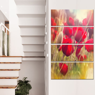 Designart Poppy Flowers Meadow in Sunlight Large Flower Canvas Wall Art - 4 Panels