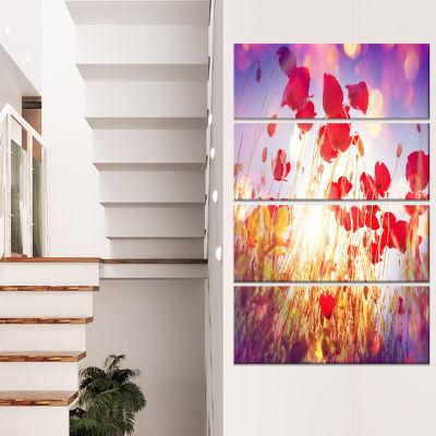 Designart Poppy Flowers on Blue Background Large Flower Canvas Art Print - 4 Panels