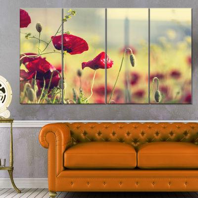 Designart Poppy Flowers on Green Background FloralCanvas Art Print - 4 Panels