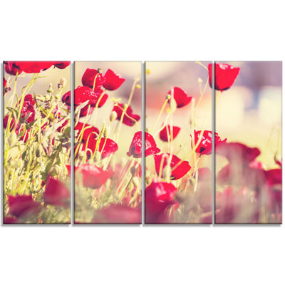Designart Poppy Flowers on Light Background FloralCanvas Art Print - 4 Panels