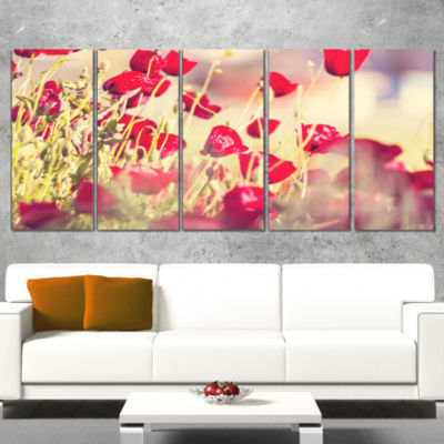 Designart Poppy Flowers on Light Background FloralCanvas Art Print - 5 Panels