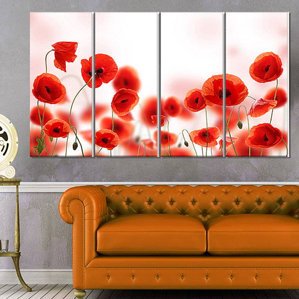 Designart Poppy Flowers on Pink Background FloralCanvas ArtPrint - 4 Panels