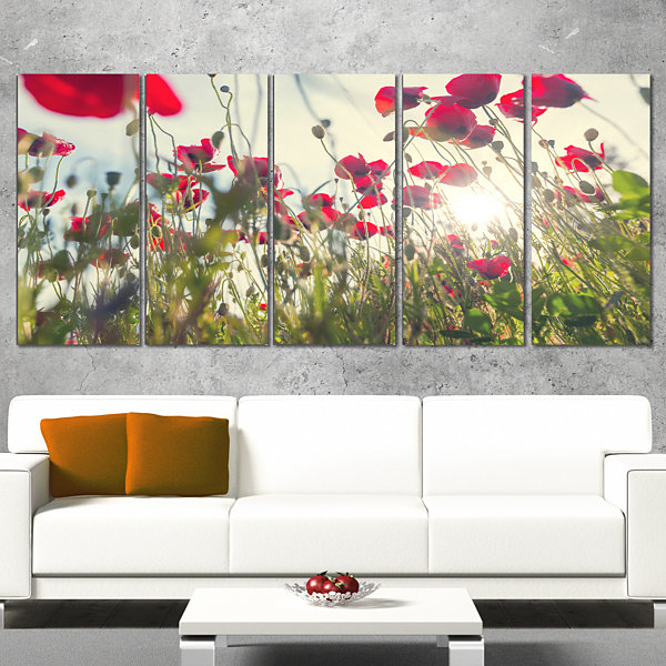 Designart Poppy Flowers on Summer Meadow Floral Canvas Art Print - 4 Panels