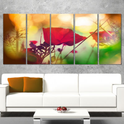 Designart Poppy Flowers With Bokeh Background Floral CanvasArt Print - 4 Panels