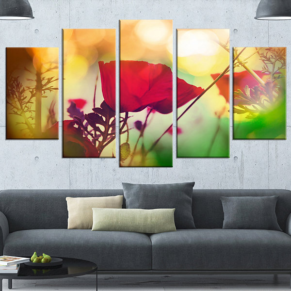 Designart Poppy Flowers With Bokeh Background Floral WrappedCanvas Art Print - 5 Panels