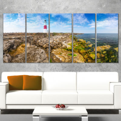 Designart Portland Bill Lighthouse Landscape Wrapped CanvasWrapped Art - 5 Panels
