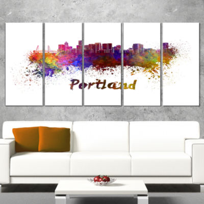 Designart Portland Skyline Cityscape Canvas Artwork Print -4 Panels