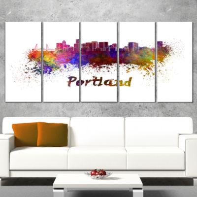 Portland Skyline Cityscape Canvas Artwork Print -5 Panels