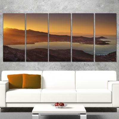 Designart Portoferraio Bay Beach Aerial View ExtraLarge Seashore Canvas Art - 4 Panels