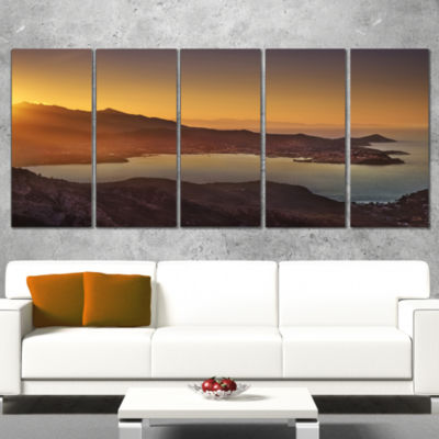 Designart Portoferraio Bay Beach Aerial View ExtraLarge Seashore Canvas Art - 5 Panels