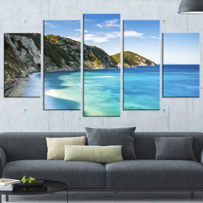 Portoferraio Sansone White Beach Extra Large Seashore Wrapped Canvas Art - 5 Panels