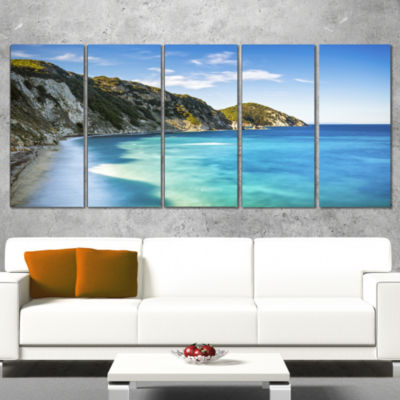 Designart Portoferraio Sansone White Beach Extra Large Seashore Canvas Art - 5 Panels