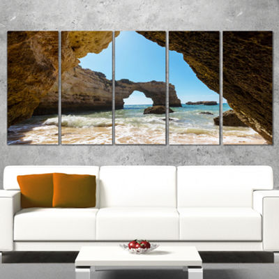 Designart Portugal Coast With Amazing Caves Oversized Landscape Canvas Art - 4 Panels