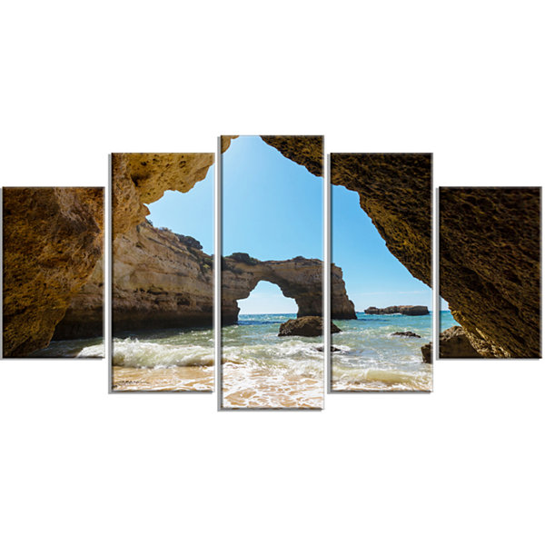 Designart Portugal Coast With Amazing Caves Oversized Landscape Wrapped Canvas Art - 5 Panels