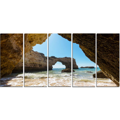 Designart Portugal Coast With Amazing Caves Oversized Landscape Canvas Art - 5 Panels