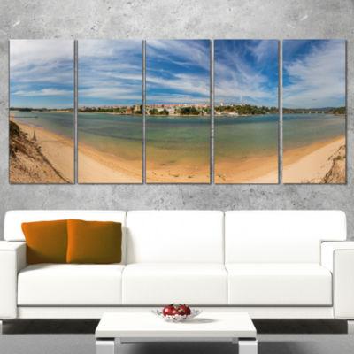 Designart Portuguese Maritime Village Panorama Extra Large Seashore Canvas Art - 5 Panels