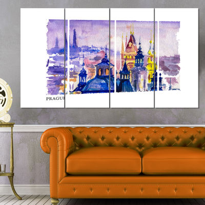 Designart Prague Vector Illustration Cityscape Painting Canvas Print - 4 Panels