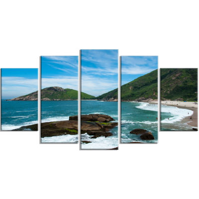 Praia Do Meio Beach Seashore Photography Canvas Art Print - 4 Panels