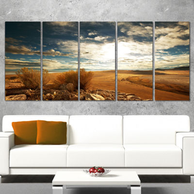 Designart Prairie Under Heavy Clouds Oversized Landscape Canvas Art - 4 Panels