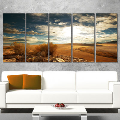 Designart Prairie Under Heavy Clouds Oversized Landscape Wrapped Canvas Art - 5 Panels