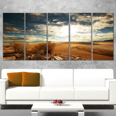 Designart Prairie Under Heavy Clouds Oversized Landscape Canvas Art - 5 Panels