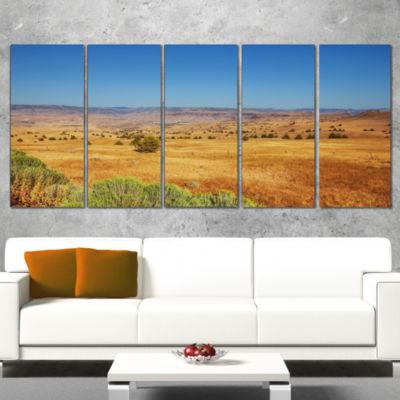 Designart Prairie With Bright Blue Sky Landscape Canvas ArtPrint - 5 Panels