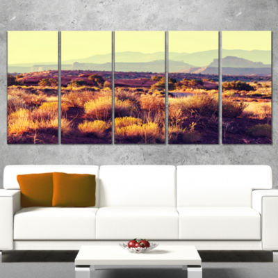 Designart Prairie With Layers of Mountains Landscape WrappedCanvas Art Print - 5 Panels