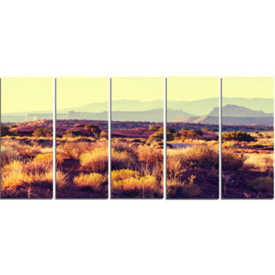 Prairie With Layers of Mountains Landscape CanvasArt Print - 5 Panels