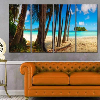 Designart Praslin Island Tropical Beach Panorama Modern Seascape Canvas Artwork - 4 Panels