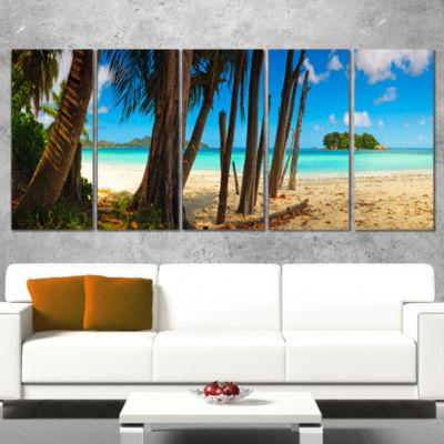 Praslin Island Tropical Beach Panorama Modern Seascape Canvas Artwork - 5 Panels