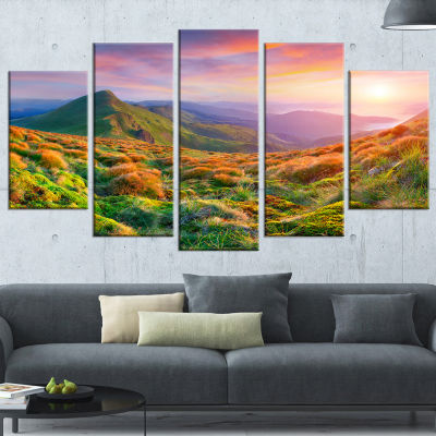 Designart Pretty Colorful Sunset in Mountains Landscape Photography Wrapped Canvas Print - 5 Panels
