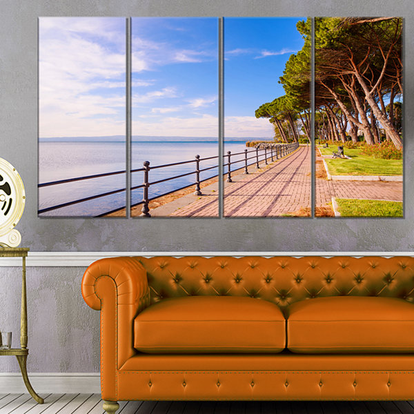 Designart Promenade and Pine Trees in Italy Oversized Landscape Wall Art Print - 4 Panels