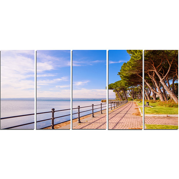 Designart Promenade and Pine Trees in Italy Oversized Landscape Wall Art Print - 5 Panels