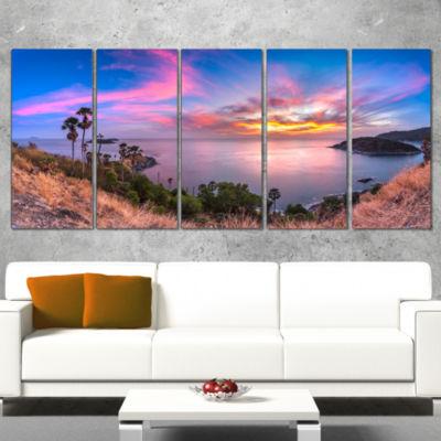 Designart Promthep Cape Best Phuket View Point Extra Large Seashore Wrapped Canvas Art - 5 Panels