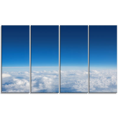 Puffy Clouds Above View Extra Large Wall Art Landscape - 4 Panels